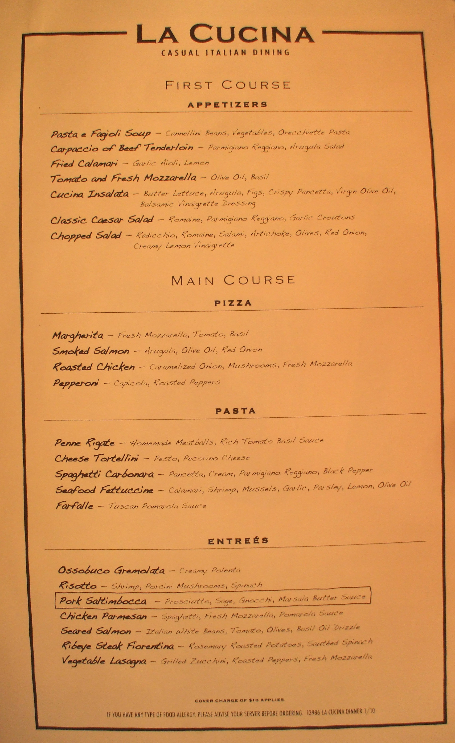 norwegian pearl - menu - la cucina - Cucina On Line
