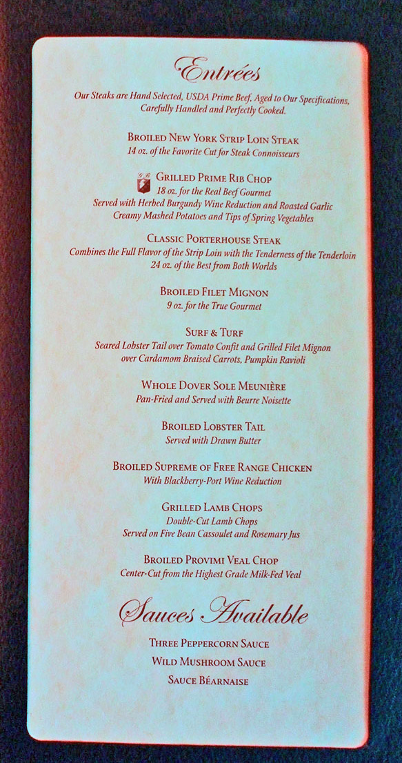 Carnival Miracle Menu Nick And Nora S Supper Club
