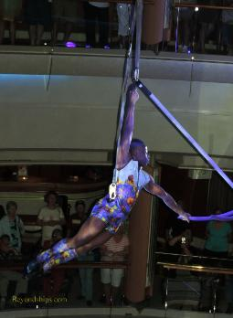 Aerialist on Legend of the Seas, cruise ship,