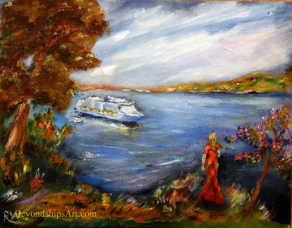 Maritime painting by Rich Wagner, cruise ship tendering near Villefranche