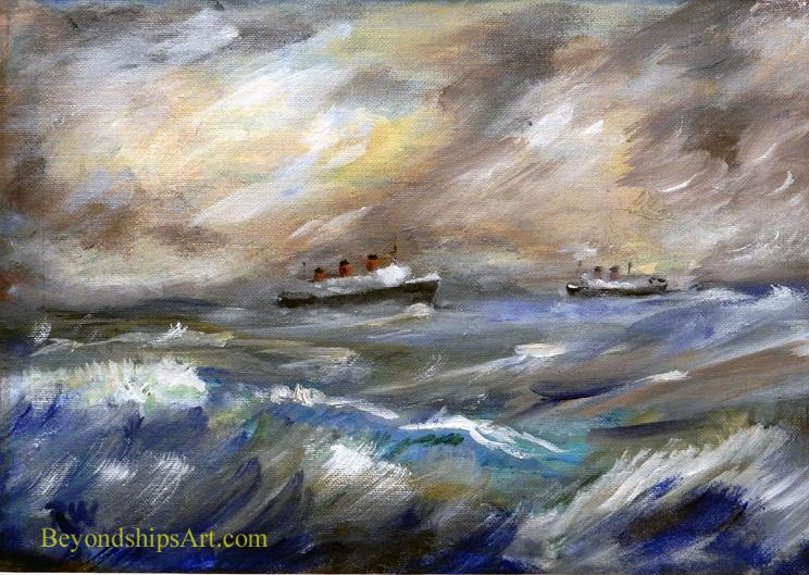 Maritime painting by Rich Wagner, two ocean liners meet at sea
