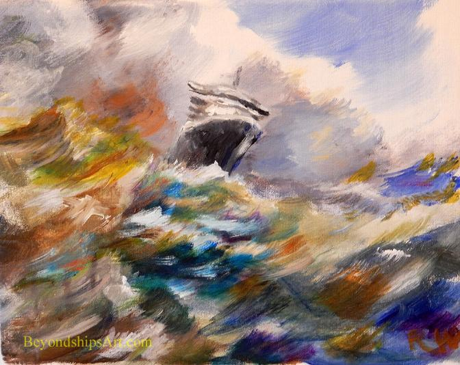 Maritime painting by Rich Wagner, ocen liner coming through a storm.