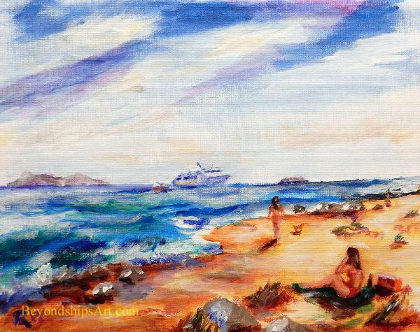 Maritime painting by Rich Wagner,, cruise ships off a beach in the Caribbean