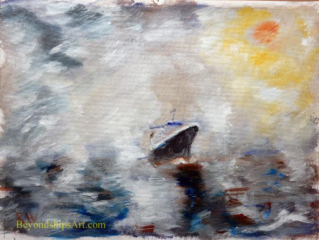 Maritime painting by Rich Wagner,ocean liner in the fog off the Grand Banks