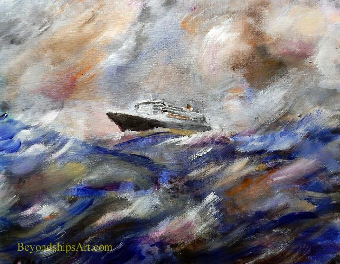 Ocean liner during a stormy crossing, Maritime painting by Rich Wagner,