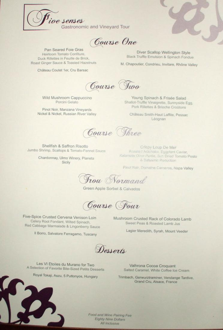 Murano menu celebrity eclipse cabins