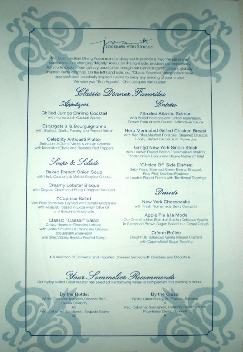 Celebrity Summit: Specialty Dining - My View from the ...