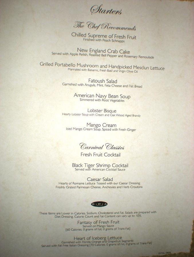 Carnival Dream Menus Main Dining Rooms : Mmainstarters 678x894 from beyondships.com size 678 x 894 jpeg 68kB