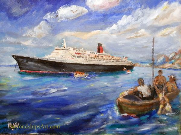 Maritime painting by Rich Wagner, QE2 tendering off St. Kitts