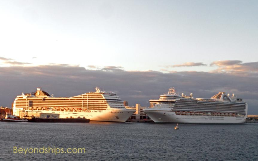 Cruise ship photo - Ruby Princess and MSC Poesia