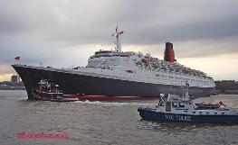 Photo of Queen Elizabeth 2, last call in New York