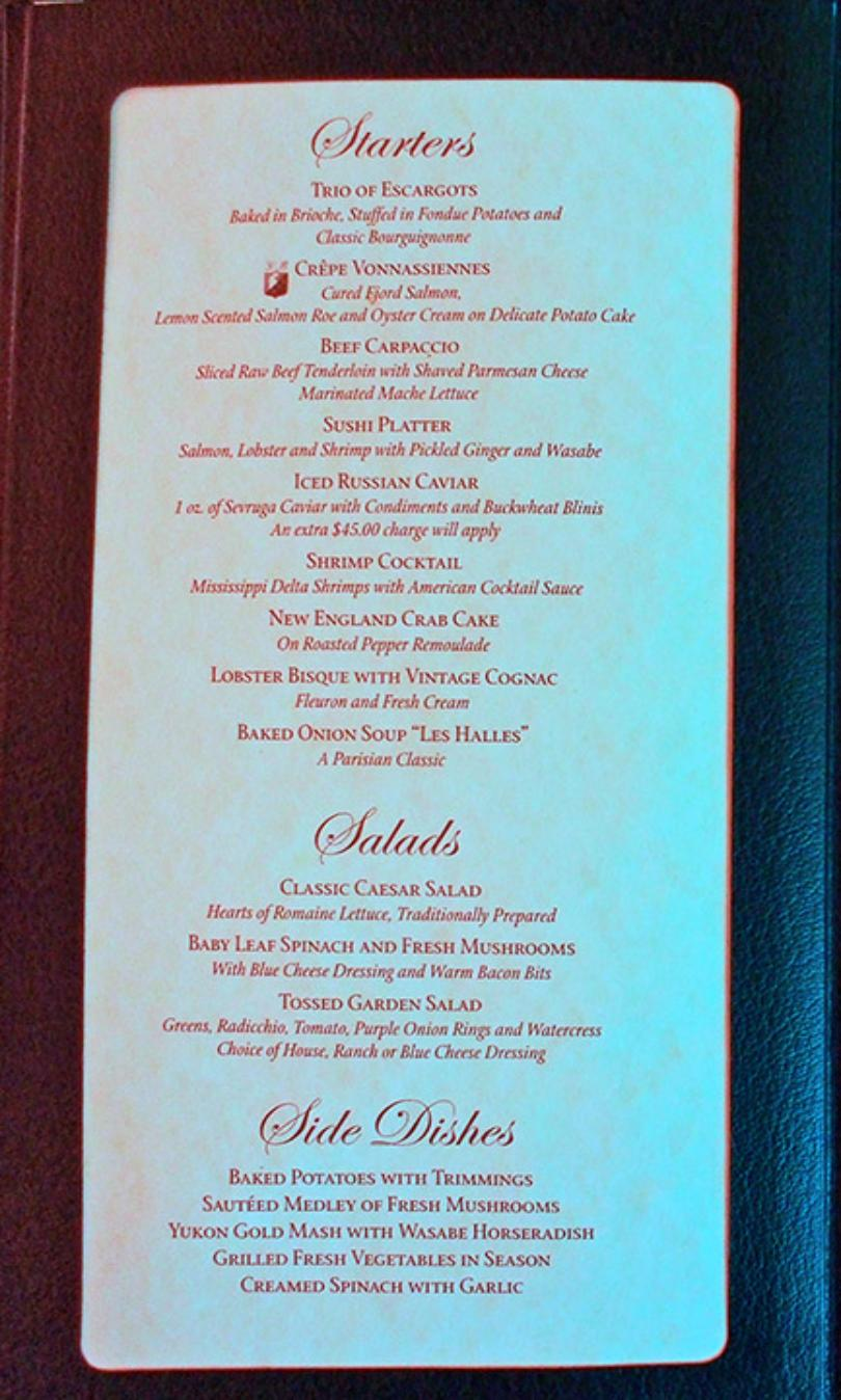 Carnival miracle menu nick and noras supper club baanklon Gallery