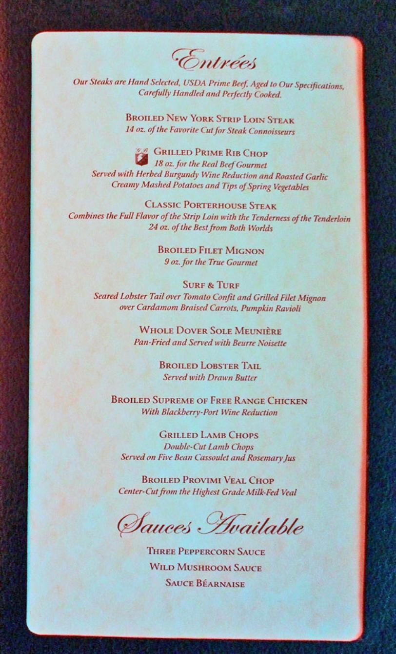 Carnival magic menu bing images for Nick s fish house menu